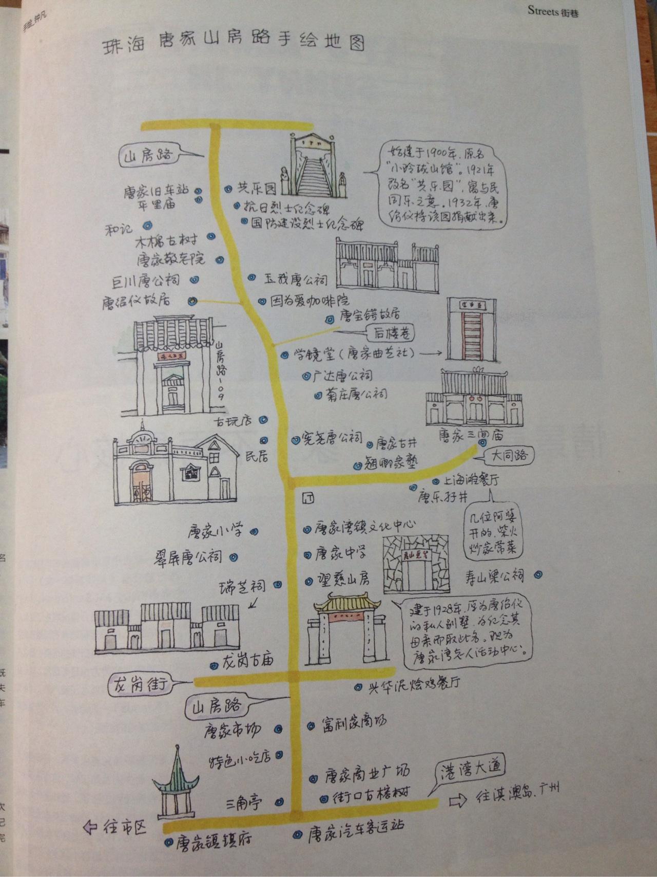 珠海唐家古镇手绘地图