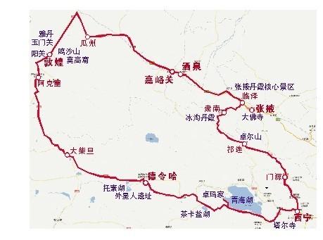 青海甘肃旅游地图